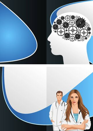 Head shape with machine gear wheel and doctors Stock Vector - 16918616