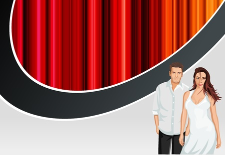 Red template for advertising brochure with man and woman Vector