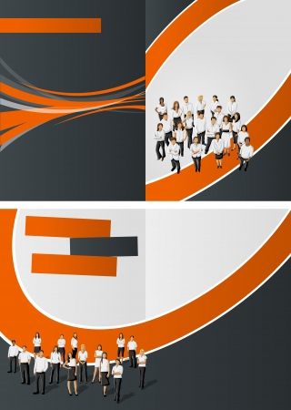 Orange and black template for advertising brochure with business people Vector