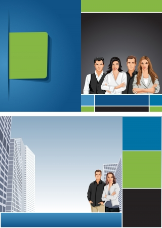 Green and blue template for advertising brochure with business people  Stock Vector - 16918619