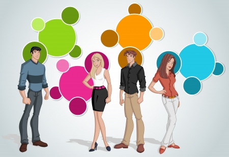 language school: Colorful template for advertising brochure with young people