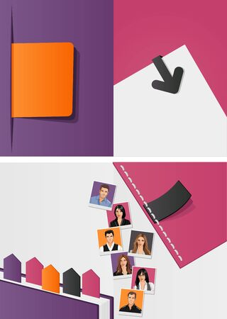 Purple and orange template for advertising brochure with business people  Vector