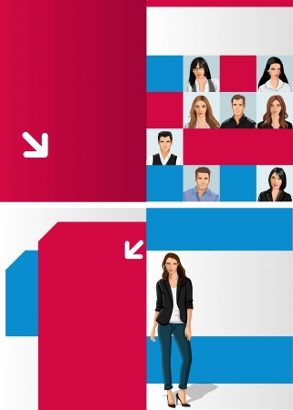 Blue and red template for advertising brochure with business people Stock Vector - 16918583