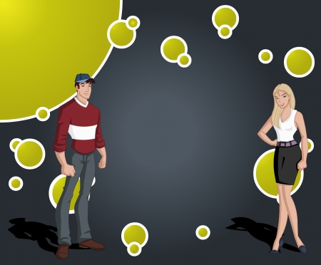 juvenile: Colorful template with cartoon teenager man and woman