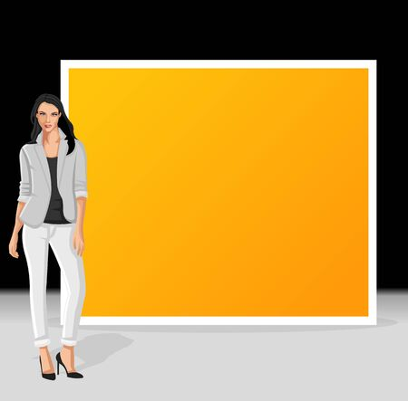 Yellow and black template for advertising brochure with business woman Vector