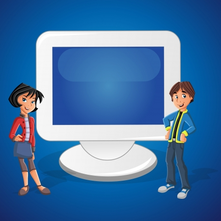 Cartoon teenager couple and computer screen with empty space. Presentation screen.