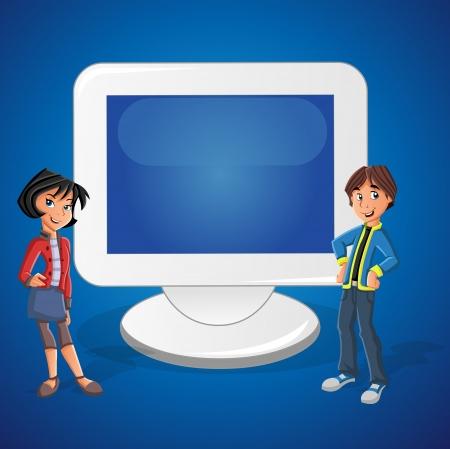 Cartoon tiener paar en computerscherm met lege ruimte. Presentatiescherm.