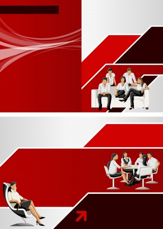 Red and black template for advertising brochure with business people Vector