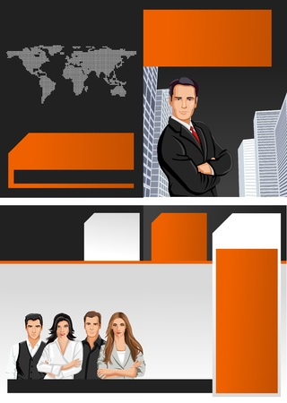 Orange and black template for advertising brochure with business people Stock Vector - 16932933