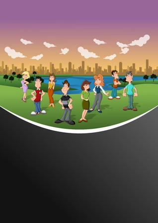 Group happy cartoon people in the city park  Vector