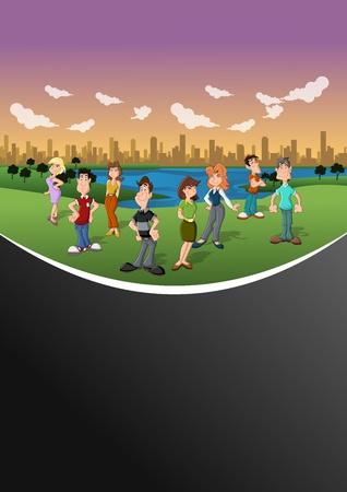 clouds cartoon: Grupo de personas felices de la historieta en el parque de la ciudad