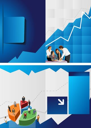 Blue chart template for advertising brochure with business people  Vector