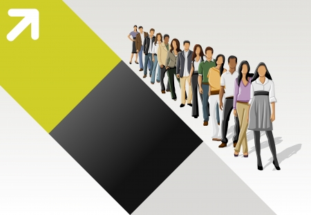 Template with business people standing in a line