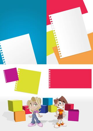 Colorful template with kids in the school Vector