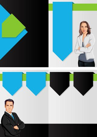 Blue and green template for advertising brochure with business people  Vector