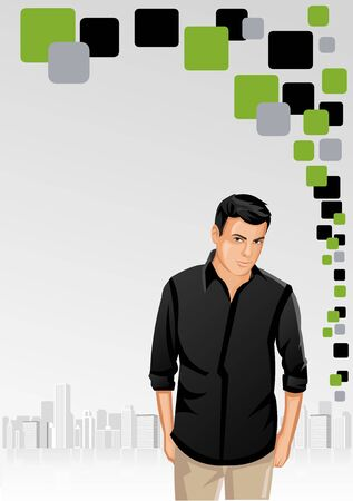 Green and gray template for advertising brochure with man on the city Vector