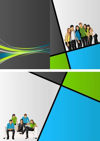 Green, blue and gray template for advertising brochure with business people  Vector