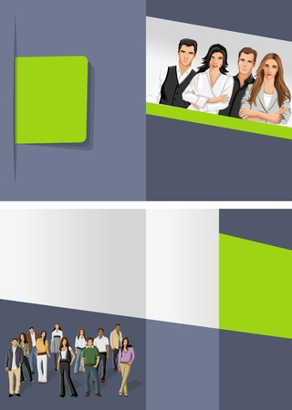 brochure layout: Green and gray template for advertising brochure with business people