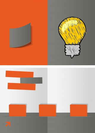 Gray and orange template for advertising brochure with idea light bulb Vector