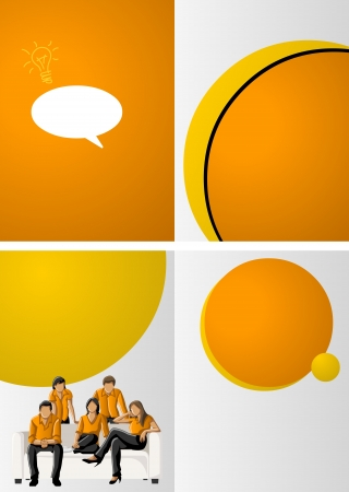 Yellow and orange template for advertising brochure with business people  Vector