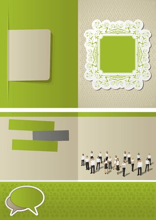 page decoration: Green vintage template for advertising brochure with   business people