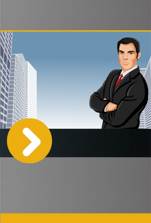 Yellow and gray template for advertising brochure with man on the city  Vector