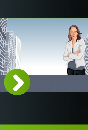 Green and black template for advertising brochure with woman on the city  Vector