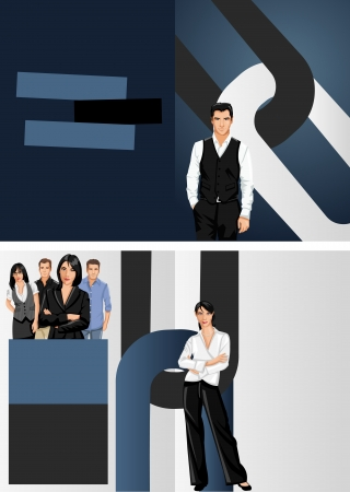 Blue and black template for advertising brochure with business people Stock Vector - 16932947
