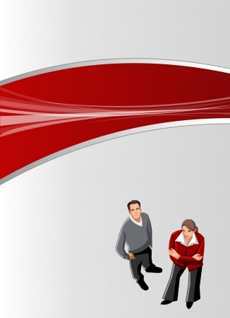 Red and gray template for advertising brochure with business people  Vector