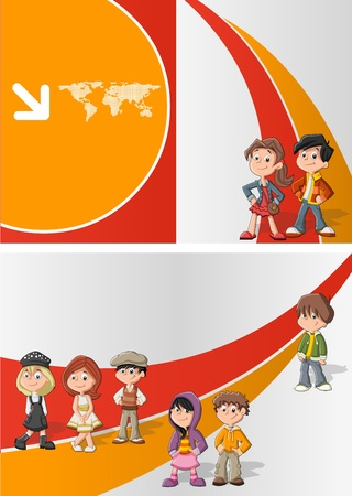 school friends: Orange and red template for advertising brochure with children students