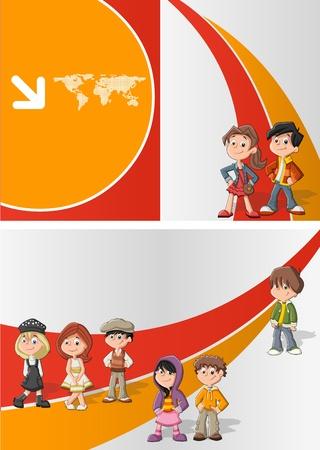 Plantilla naranja y rojo para el folleto publicitario con los niños estudiantes