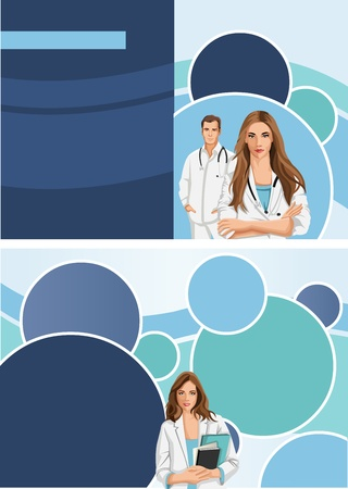medical student: Medical template for advertising brochure with doctors