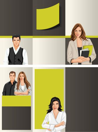 Yellow and black template for advertising brochure with business people Stock Vector - 16922643