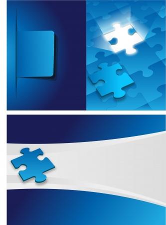 piezas de puzzle: plantilla azul para el folleto publicitario con piezas de rompecabezas