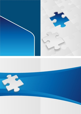 blue template for advertising brochure with puzzle pieces Vector