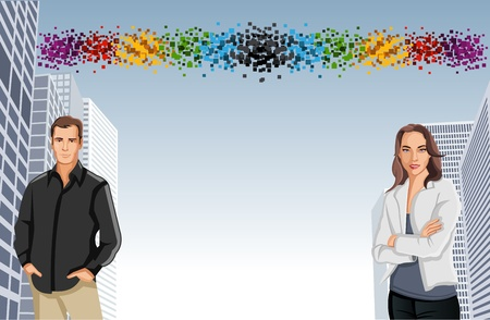 Template for advertising brochure with man and woman in the city Vector
