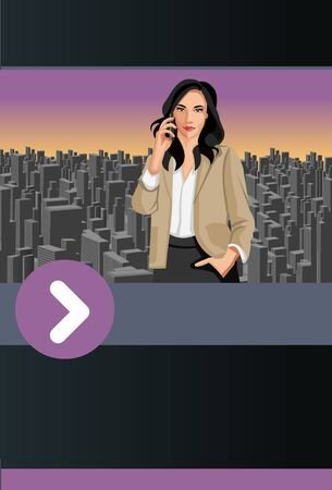 woman cellphone: Purple and black template for advertising brochure with woman talking on the cellphone in the city