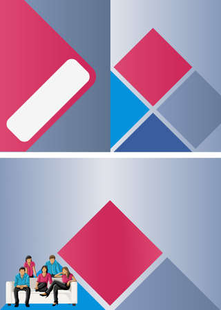 Pink and blue template for advertising brochure with business people  Vector