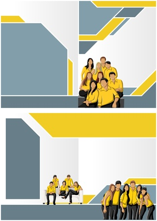 magazine page: Yellow and blue template for advertising brochure with business people