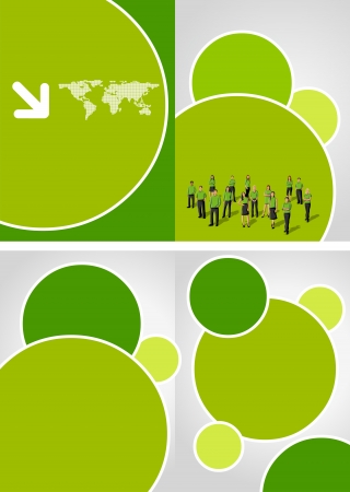 save earth: Green template for advertising brochure with business people