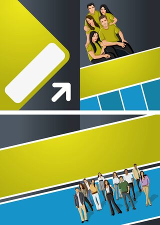 Blue and yellow template for advertising brochure with business people Stock Vector - 16932923