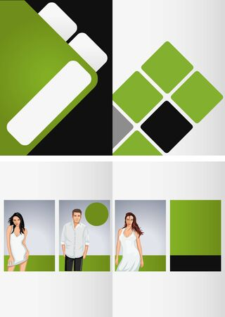 coworker banner: Green and white template for advertising brochure with business people