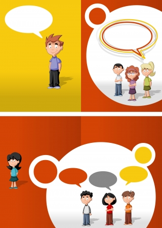 Orange and red template for advertising brochure with children students  Illustration