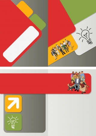 for advertising: red, orange, green template for advertising brochure with business people