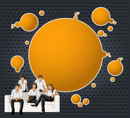 coworker banner: Orange and black template for advertising brochure with a group of people