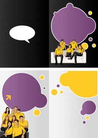 Yellow and purple template for advertising brochure with business people Stock Vector - 16932775