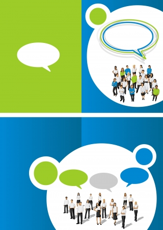 cover page: Green and blue template for advertising brochure with business people Illustration