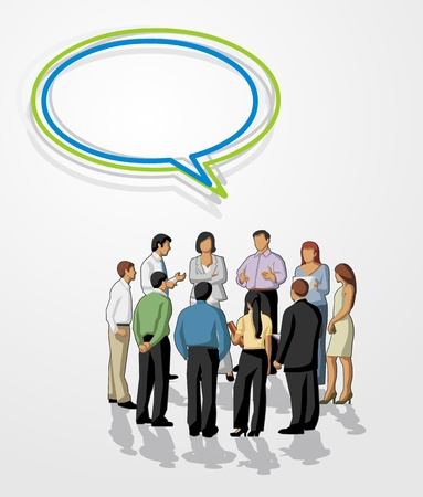 discuss: Meeting of business people with speech balloon