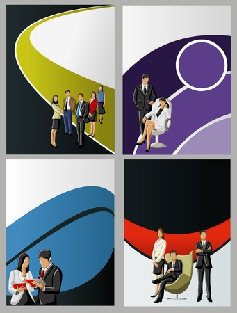 Colorful template for advertising brochure with business   people  Stock Vector - 16932757