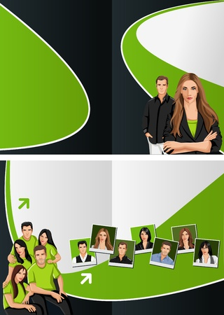 Green and black template for advertising brochure with business people Stock Vector - 16932759